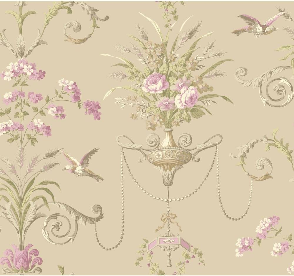 York Wallcoverings Nm2902 Normandy Manor Floral Neoclassic With