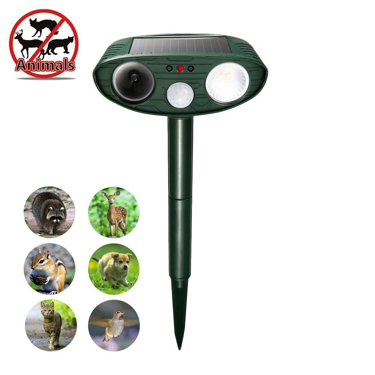 Ultrasonic Dog Repellent, Solar Animal Repeller with Motion Activated and White Lights, Outdoor Waterproof Yard, Garden, Lawn Repellent for Dogs, Cats,Rodent, Deer, Raccoon, Squirrels