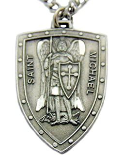 Amazon st michaelstainless steelthe archangel prayer medal saint michael shield pewter medal 1 14 inch on 24 inch stainless steel chain mozeypictures Gallery