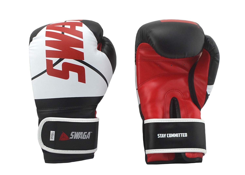 Swagaトレーニングボクシンググローブ – 16オンス – ブラック
