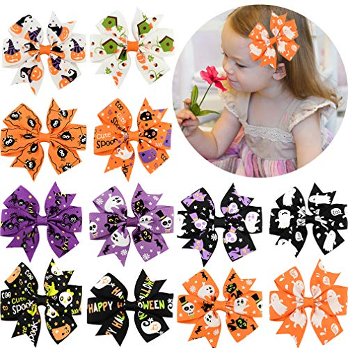 12 Pcs Hair Bows Clips 3 Boutique Alligato Halloween Bow Grosgrain Ribbon Accessories For Girls Baby Toddlers Kids