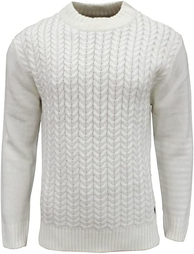 Soul Star Men/'s Tugger Turtle Neck Cable Knit Jumper Ecru