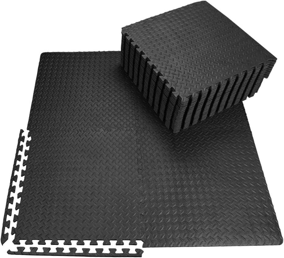 innhom 12/24 Tiles Gym Mat Exercise Mats Puzzle Foam Mats Gym Flooring Mat Interlocking Foam Mats with EVA Foam Floor Tiles for Gym Equipment Workouts, Black/Gray