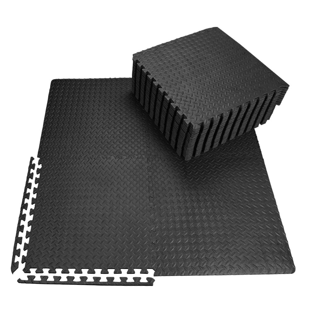 innhom Gym Mat Puzzle Exercise Mats Gym Flooring Mat Interlocking Foam Mats with EVA Foam Floor Tiles for Gym Equipment Workouts, Black by innhom