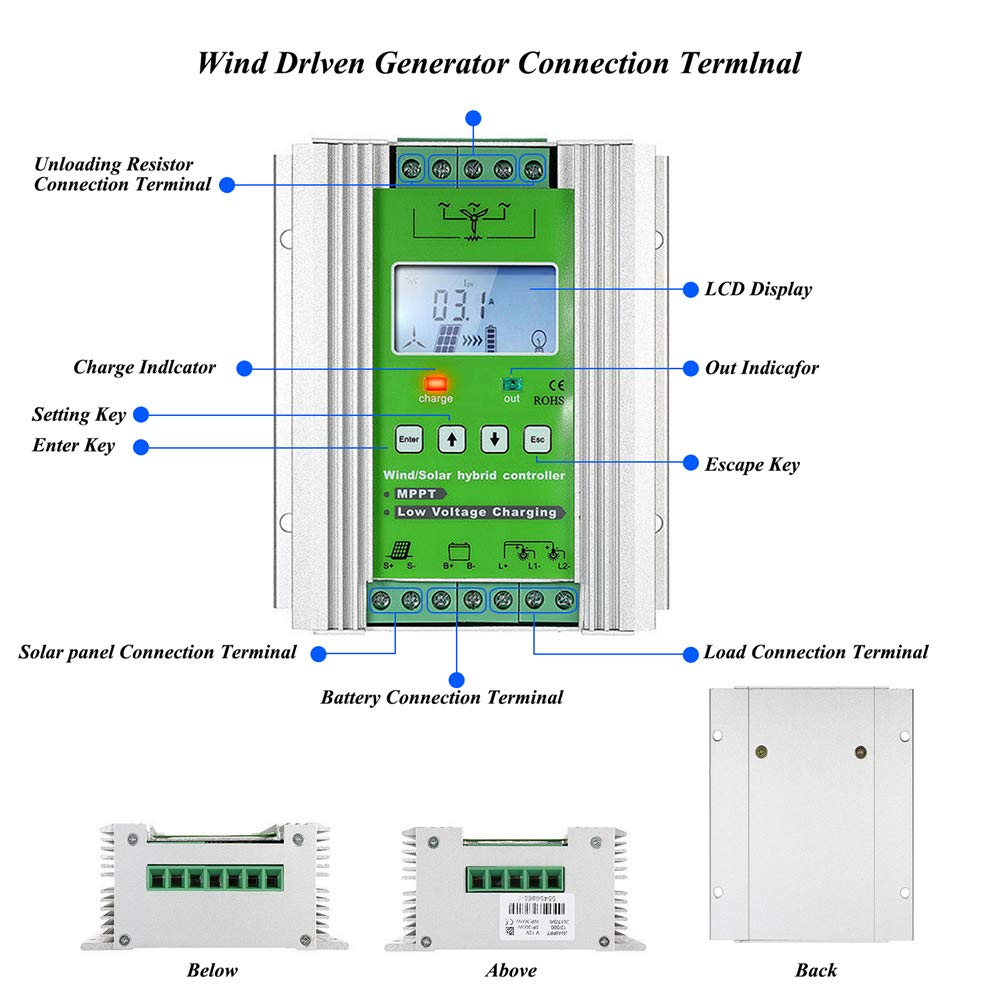 1000W Wind Solar Hybrid Charge Controller ,Off Grid MPPT Wind Turbine Solar Charge Controller Hybrid Controller 600W Wind and 400W Solar Panel 12V/24V Auto Distinguish by anancooler (Image #4)