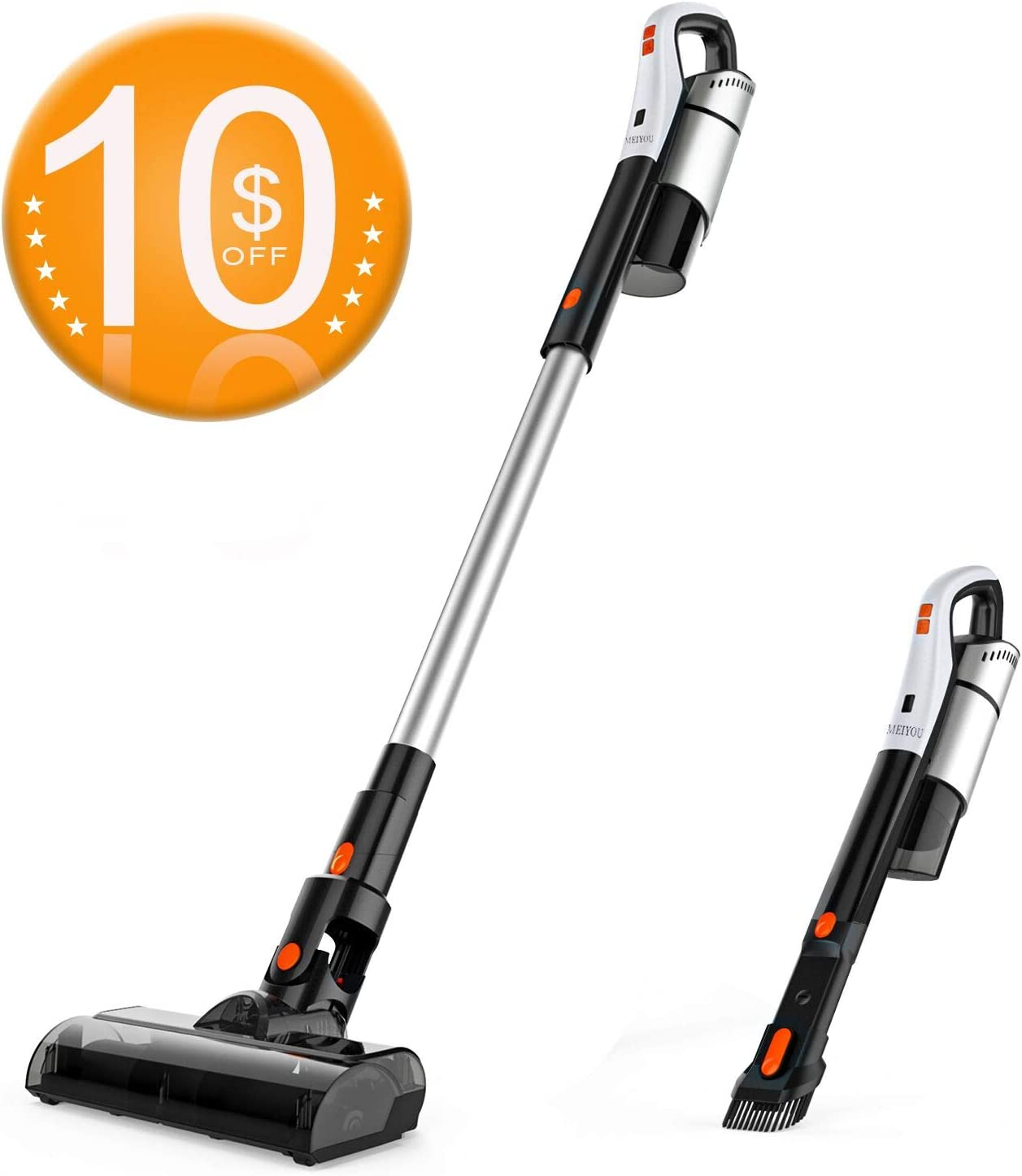 Cordless Vacuum, MEIYOU Stick Vacuum Cleaner, 18KPa Powerful Cleaning Lightweight 4 in 1 Handheld Vacuum with Rechargeable Lithium Ion Battery