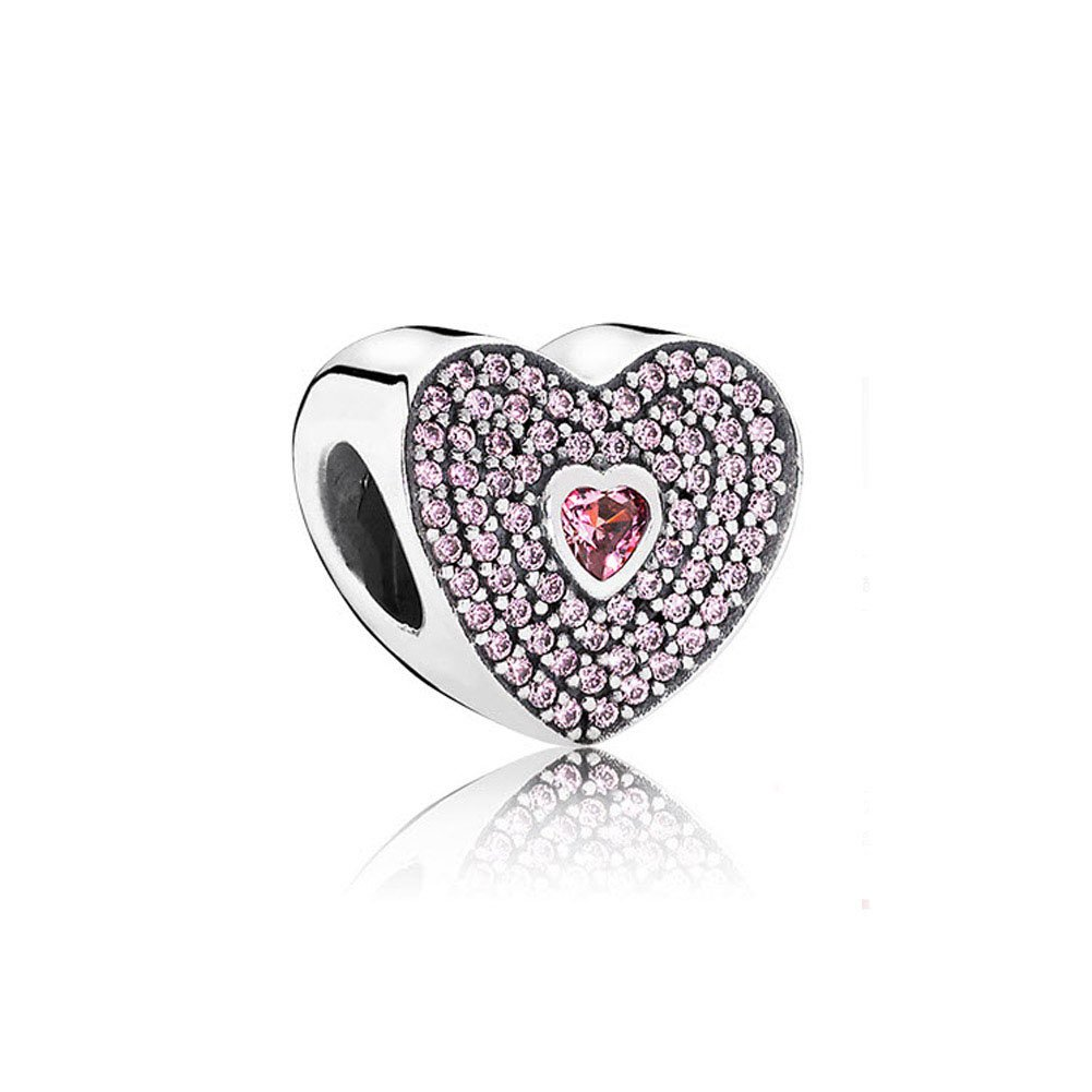 Romántico Amor Fit Pandora Charm Bracelet Love in My Heart With Clear CZ Bead,925 Sterling Silver (3)