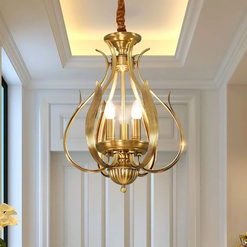All-Copper Crystal Dining Room Living Room Bedroom Atmosphere Simple European Porch Home Garden Candle Small Chandelier