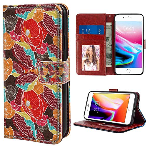 iPhone 7 Plus, iPhone 8 Plus Wallet Case, Flower Shabby Chic Poppy Blossoms Pattern in Colorful Doodle Style Lines Exotic Graphic Multicolor PU Leather Folio Case with Card Holder and ID Coin Slot