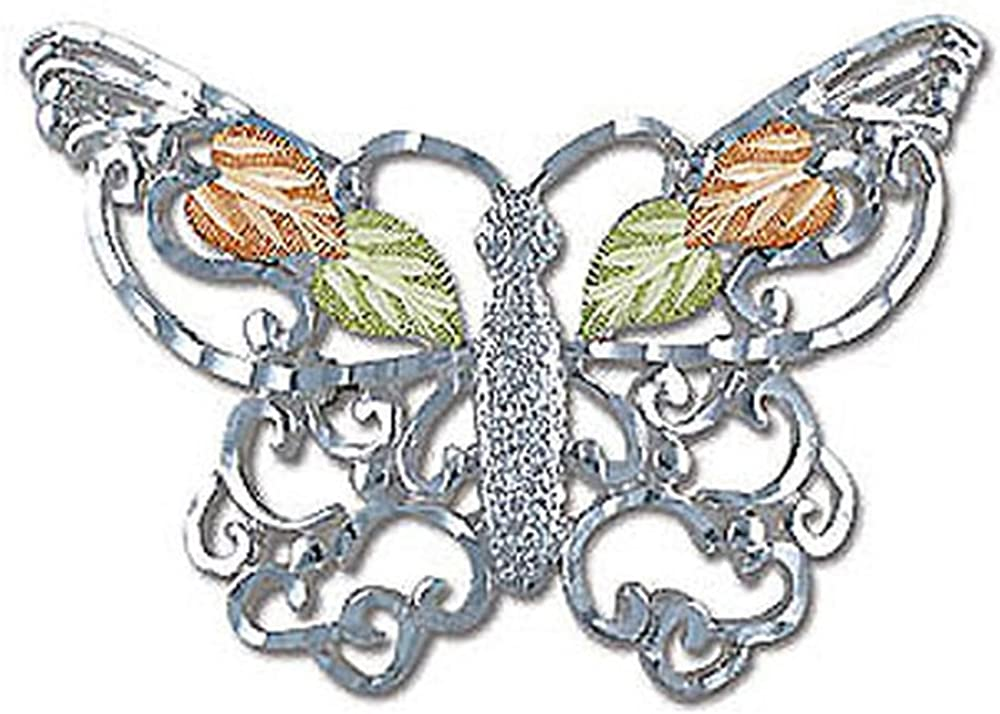 MRLBR405 Landstroms Silver Butterfly Brooch Pin and 12k Black Hills Gold Leaves