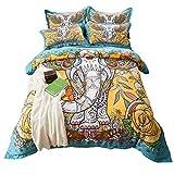 blue page Bohemia Exotic Patterns Design - 4 Pcs Reversible Boho Duvet Cover Sets, Elephant Mandala Pattern Bedding Set with 2 Pillow Shams, Full Size