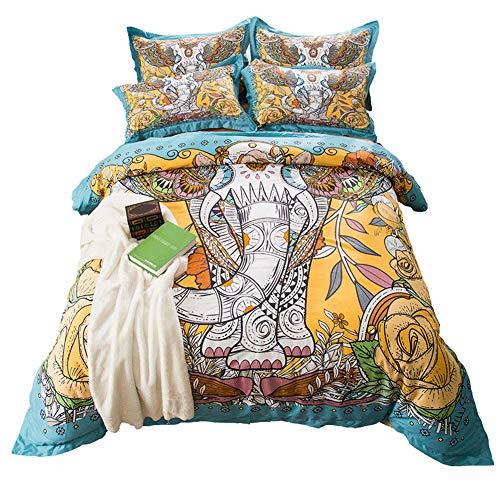 MeMoreCool Bohemia Retro Printing Bedding Ethnic Vintage Elephant Duvet Cover Boho Bedding 100% Cotton Premium Bedding Collection (Multicolor, Twin)