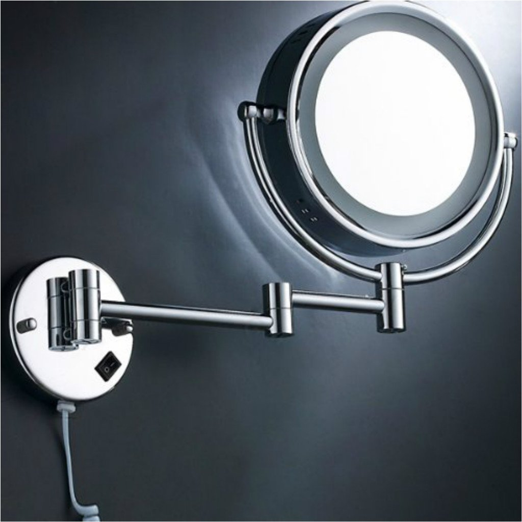 Homyl Metal Double Sided LED Light Wall Mount Mirror Makeup Shaving 3X 5X 7X Rotatable and Adjustable - Chrome, 7x Magnification by Homyl (Image #5)