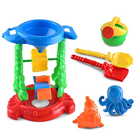 Newin Star Juego de 6 piezas de juguetes de arena para bebés, juguetes de playa