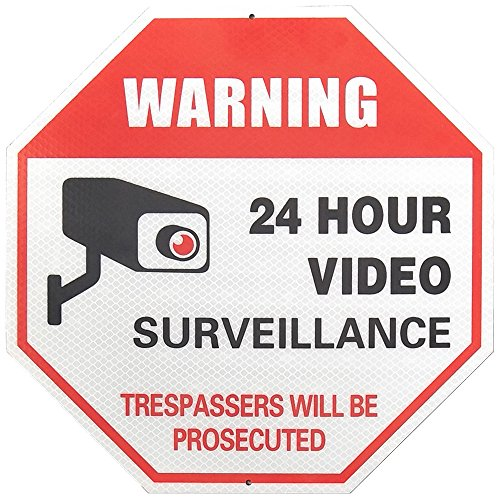 (MiraCase Video Surveillance Sign | Super Reflective Rust Free Aluminum No Trespassing Warning Sign | Large Octagon 24 Hour Security Alert for Home Business Premises 12 x 12 Red)