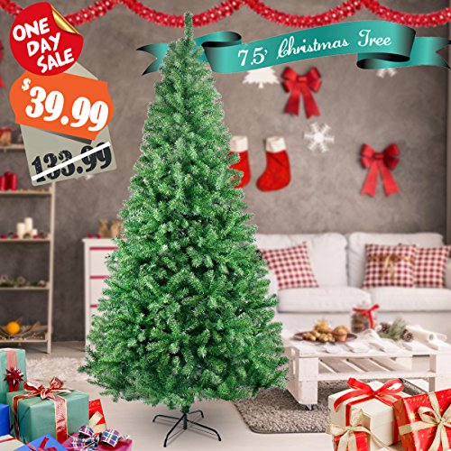 HAPPON 7.5 FT 1500 Tips Premium Artificial Pine Tree Christmas Tree Artificial Realistic Natural Branches with Solid Metal Leg,Green (7.5 Sale Christmas Tree)