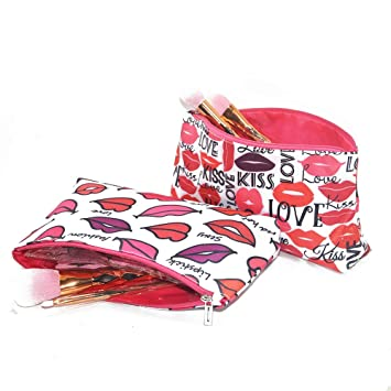 1e42e90fc7c68b Amazon.com : Waterproof Makeup Bags For Women Lips Printing Girls Travel  Cute Small Cosmetic Bag (2pack) : Beauty