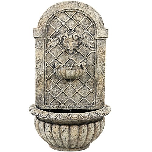 Sunnydaze Venetian Outdoor Wall Fountain with French Limestone Finish ()