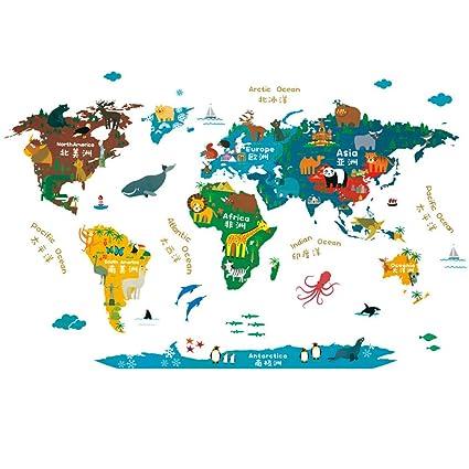 Amazon.com: Pstars PVC Wall Stickers World Map Children\'s Bedroom ...