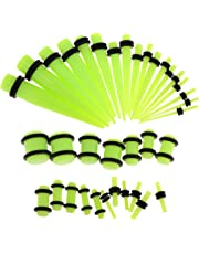 HOMYL 36pcs Wholesale Kit 14G-00G Acrylic Ear Gauges Stretching Kit Tapers Plugs wit Rubber Double O-ring