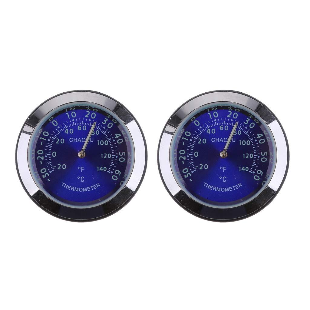 SM SunniMix 2Pieces Car Dashboard High Accuracy Mini Quartz Clock Mechanical Thermometer Meter 38x38x15mm Blue
