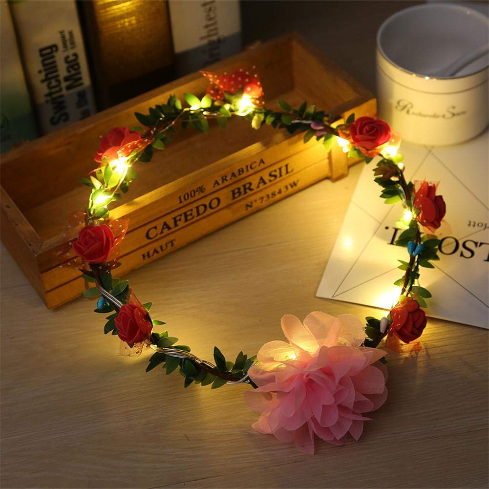 Headgear Headband Hair Accessory Christmas Wreath Holiday Wreath LED with Light Shining Rose Headdress Seaside Holiday Tourist Scenic Spot Wreath (5 Colors)