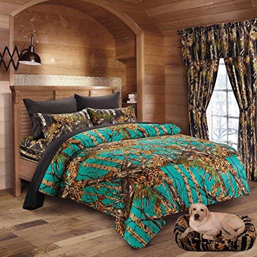 Hunter Camo Comforter, Sheet, & Pillowcase Set (Queen, Teal / Black)