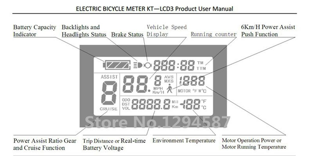 Amazon.com : 24V 36V 48V electric bike bicycle intelligent Control Panel LCD3 Display for E-bike : Sports & Outdoors