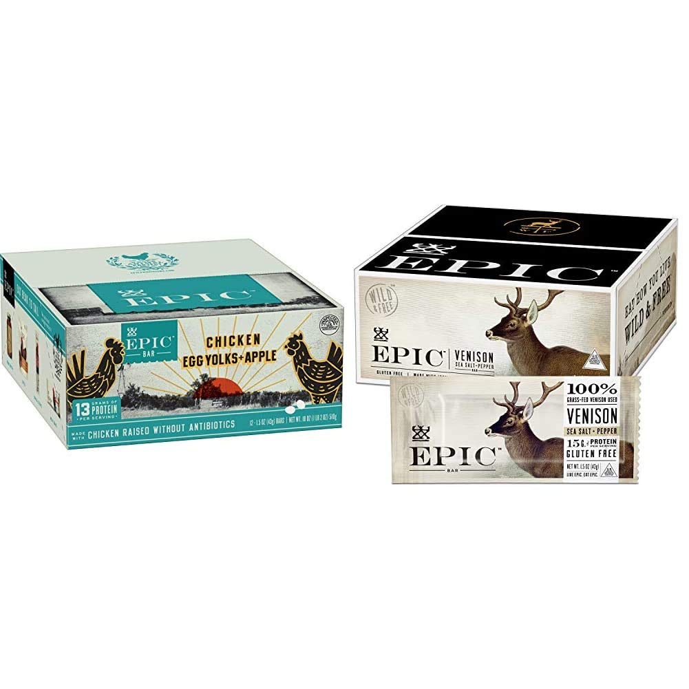 EPIC Chicken + Egg Yolk + Apple Protein Bars, Whole30, 12 Count Box 1.5oz bars & EPIC Venison Sea Salt & Pepper Bars, Whole 30, Keto Friendly, 12Ct Box 1.5oz bars