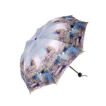 Shuang Yu Zuo Apertura Automática Y Cierre De Viaje Compacto Paraguas con Windproof Reforzado Anti-