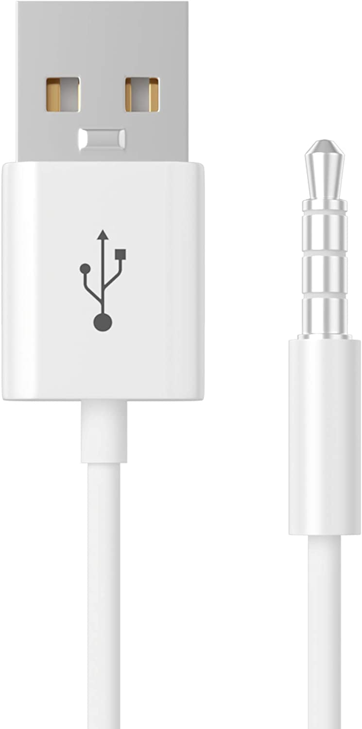 for Shuffle Cable, 3.5mm Male Jack to USB Power Charger Sync Data Transfer Cord 10.5CM Replacement Cable Compatible for Shuffle 3rd | 4th | 5th Gen MP3/MP4 Case, White