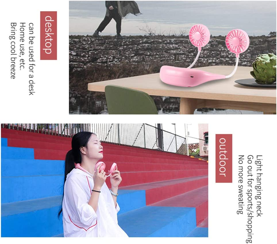 Lossky DC3.7V Mini Flexible Rotatable Bendable Neck Fan with Multi-Color L-ED Lighting Eeffect 3 Adjustable Wind Speed 7 L-eaf USB C-harging Port Design Built-in 2 1500mAh High Capacity Rechargeabl