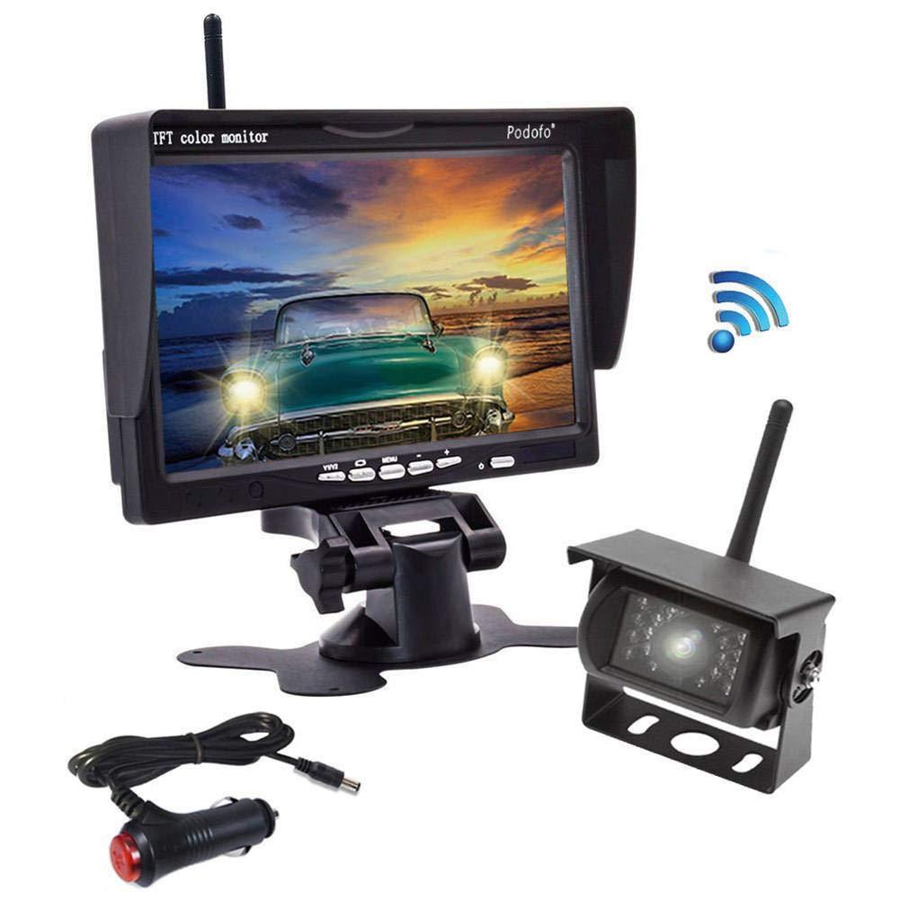 Caméra de recul sans fil, étanche à l'eau et à la vision nocturne IP 68 Caméra de recul, moniteur LCD TFT LCD 7 pouces à l'arrière pour camionnettes, camping-cars, camions, camping-cars PEALO