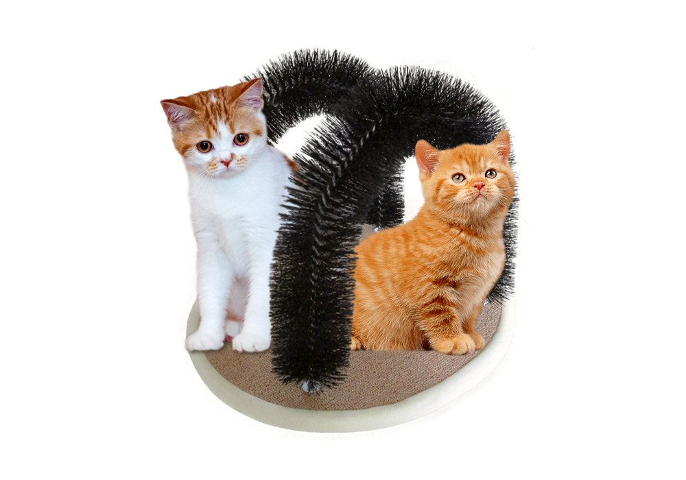 Petories DOUBLE Arched Cat Groomer- Premium Cat Massager With 2 Arches For Deshedding, Massaging & Stimulating Your Cats