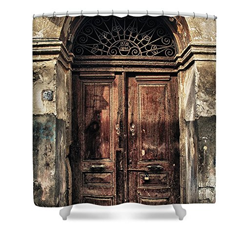 Pixels Shower Curtain (74'' x 71'') ''1891 Door Cyprus'' by Pixels