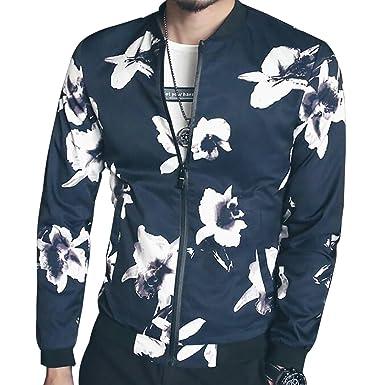 5e53afb12 SITENG Men Fashion Casual Fall Print Floral ML Baseball Bomber Coats  Jackets for Men