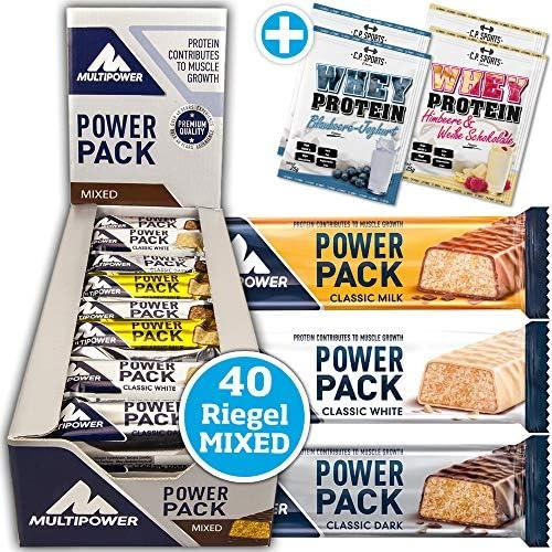 Multipower Power Pack Classic Dark, Milk, White MIX BOX 40 x 35g Protein Riegel in 3 Geschmacksrichtungen mit...