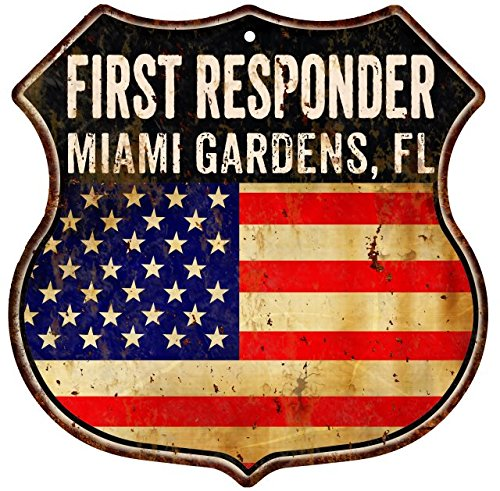 Great American Memories MIAMI GARDENS, FL First Responder American Flag 12x12 Metal Shield Sign S122521]()