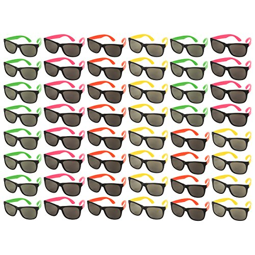48-Pack Party Glasses - 80s Party Favors, Plastic Neon Sunglasses, Perfect for Bachelorette or Bachelor Party Supplies, Assorted Colors -