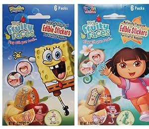 SpongeBob SquarePants & Dora the Explorer Edible Stickers For Fruits & Veggies Party Pack (4 Pack)