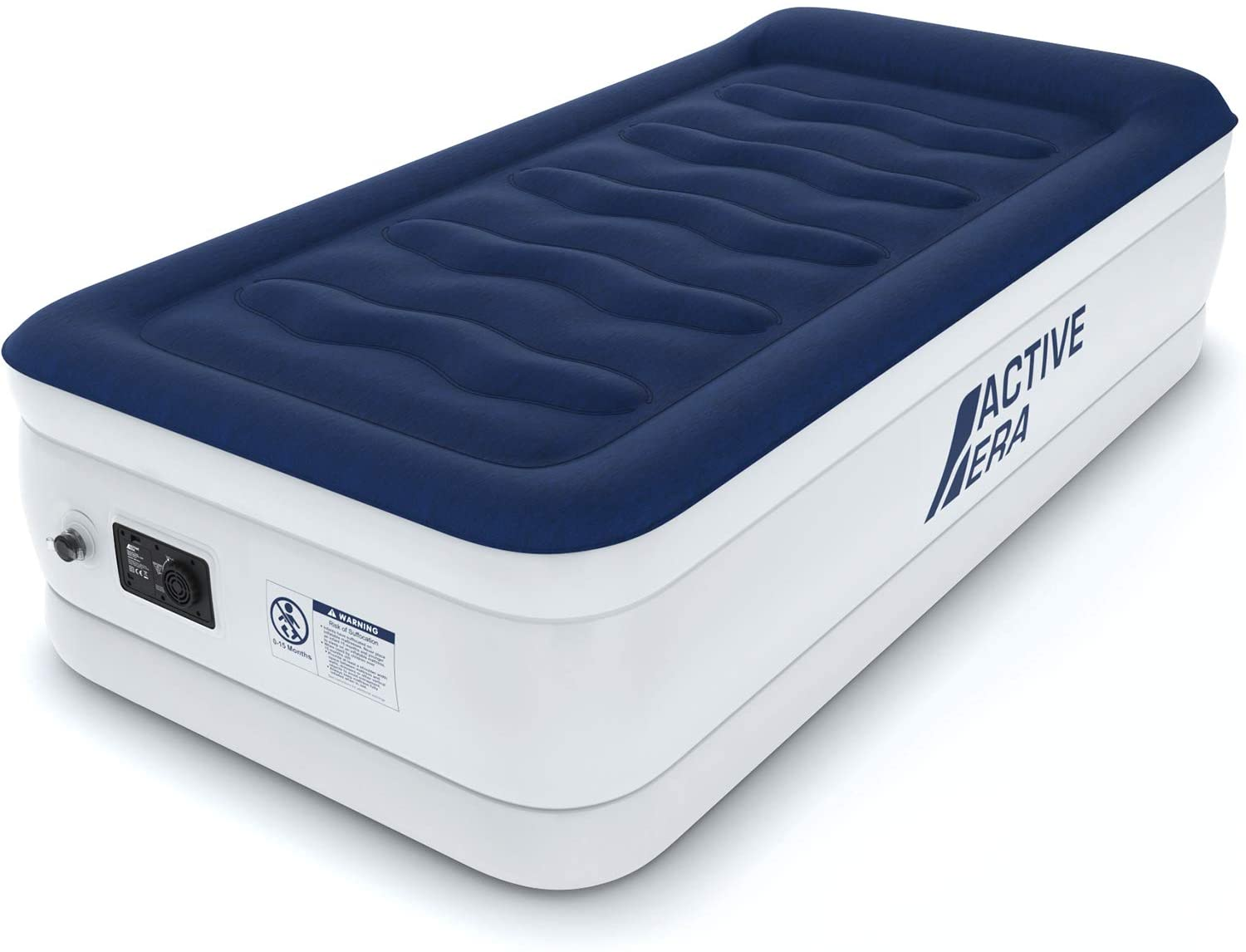 "Active Era Luxury Twin Size Air Mattress (Single) - Elevated Inflatable Air Bed, Electric Built-in Pump, Raised Pillow & Structured I-Beam Technology, Height 21"": Sports & Outdoors"