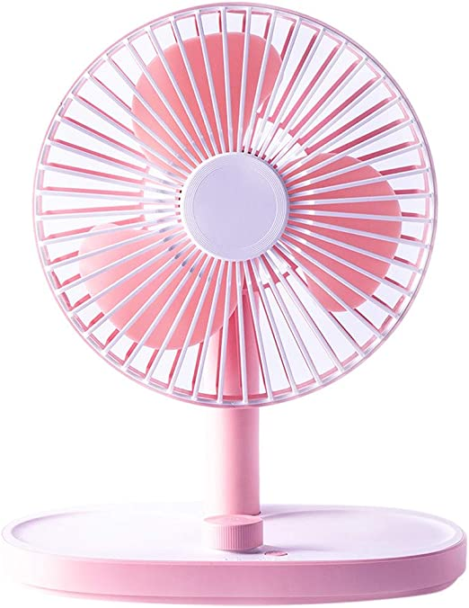 USB Table Desk Personal Fan USB Fans Portable Mini Creative Mute Rechargeable Desktop Mirror Fans Gifts for Home Office Table Color : Pink