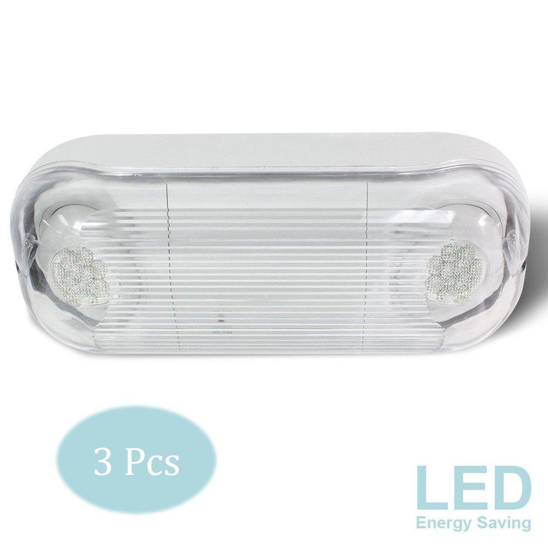 eTopLighting [3 PCS] LED Hardwired Outdoor/Indoor Emergency Light, Wet Damp Listed, Energy Saving LED Beads & Durable Body Material, Minimal Maintenance, AGG2046