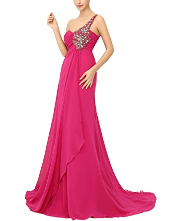 Clearbridal Prom Dress Beads One Shouler Formal Evening Party Gown Cheap