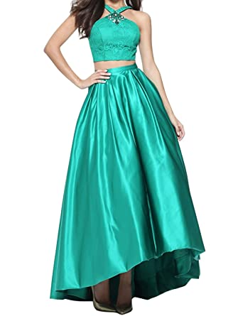 Annas Bridal Womens Two Pieces Long Prom Dresses 2018 Lace Evening Party Gowns Green at Amazon Womens Clothing store: