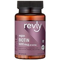 Amazon Brand - Revly Vegan Biotin 5000 mcg - Hair, Skin, Nails - 130 Capsules (4...