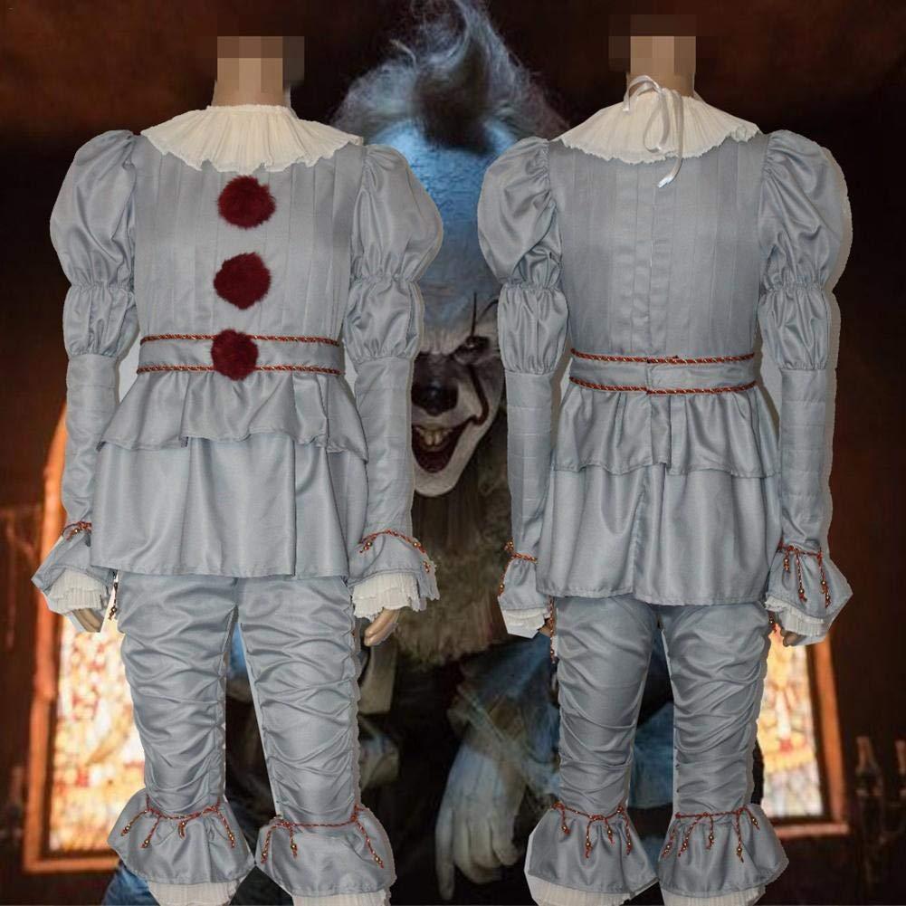 Gereton Traje de Payaso Creepy It Cosplay Joker Traje de Payaso Conjuntos completos de Halloween Traje para Adultos Hombres Mujeres