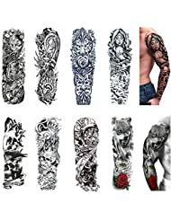 Temporary Tattoo Sleeves 8 Sheets,Large Fake Black Full Arm Tattoo Stickers