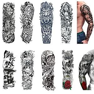 Amazon Com Tatuajes Temporales De Brazo Completo 20 Planillas Mangas De Tatuaje Impermeables A La Moda Removibles Extra Grandes Para Adultos Y Ninos Beauty
