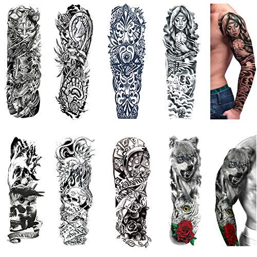 Temporary Tattoo Sleeves 8 Sheets,Large Fake Black Full Arm Tattoo Stickers -